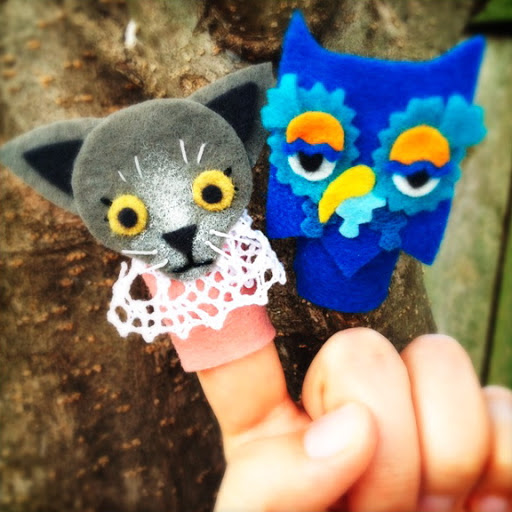 Henrietta Pussycat and X the Owl Finger Puppets
